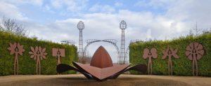 Total work of art, Artists Huub & Adelheid Kortekaas, art, bronze, corten steel, rvs, seedlings, plants, nature, unifying, Architecture, garden design, sculpture, growth, De Tempelhof,