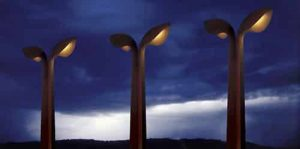 Light masts, Lanterns, Corten-steel, Nijmegen, Artists Huub & Adelheid Kortekaas, art,light-sculpture, design, street-architecture,